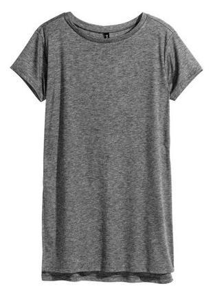 Удлиненная футболка с высокими разрезами меланж h&m