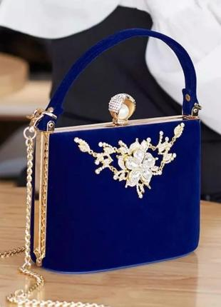 Клатч сумочка вечерняя женская велюровая синяя