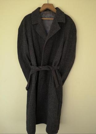 Крутое базовое винтажное пальто твидовое