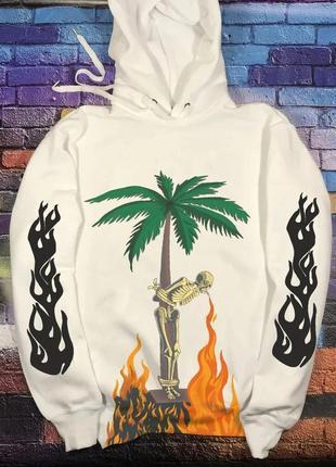 Толстовка белая palm angels palm • худи палм анжелс skeleton smoke