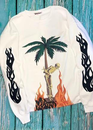 Свитшот белый palm angels palm • палм анжелс skeleton smoke