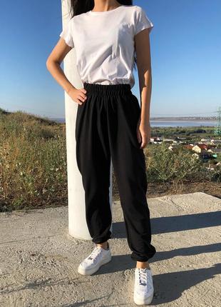 Новые черные спортивные штаны джоггеры на высокой талии с резинкой внизу