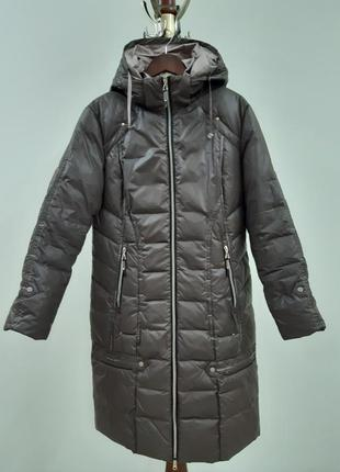 Стильное пальто пуховик на межсезонье