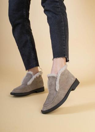 Женские ботинки лоферы капучино