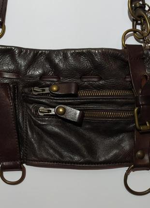 Кожаная маленькая сумочка сумка на длинном ремешке