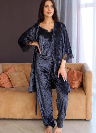 Mito 306 мраморный велюр комплект пижама тройка с халатом штаны синий