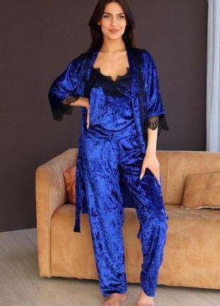 Mito 306 мраморный велюр комплект пижама тройка с халатом штаны электрик синий