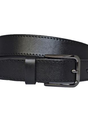 Ремень женский кожаный черный прошитый для джинсов amalia