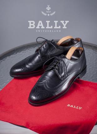 Дерби люкс класса bally, швейцария 44,5 размер мужские туфли кожаные броги