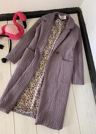 Лавандовое пальто тренч на осень