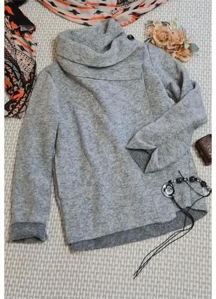 Теплый кардиган-пальто с карманами/шерсть/большого размера