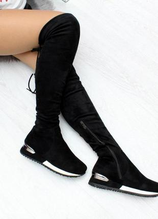 Стильные высокие замшевые черные женские сапоги ботфорты на флисе  код 7296