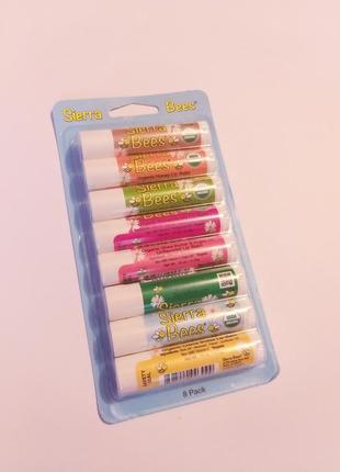 Гигиенические бальзамы для губ sierra bees lip balm, натуральные, 8 шт