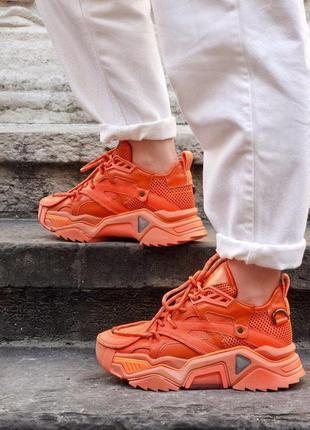 Люкс кроссовки calvin klein orange в оранжевом цвете (36-40)💜