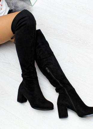 Элегантные черные замшевые высокие женские сапоги ботфорты зима 2020  код 7293
