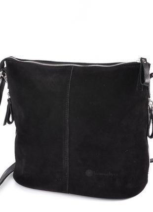Чёрная кожаная замшевая женская молодёжная деловая сумка кроссбоди на длинном ремне