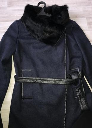 Пальто халат шерстяное с натуральным мехом