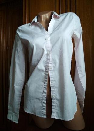Блуза-рубашка с длинным рукавом в полоску белая с розовым h&m
