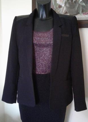 Пиджак жакет с элементами екокожи