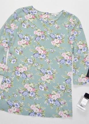 Красивая нежная блуза в пастельны тонах.цветочный принт и рукава воланы