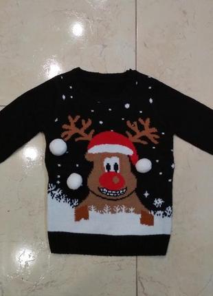 Новогодний уютный праздничный свитер реглан санта дед мороз для мальчика на 5-6 лет.