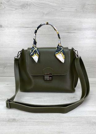 Женская небольшая сумка с платком оливковая зеленого цвета