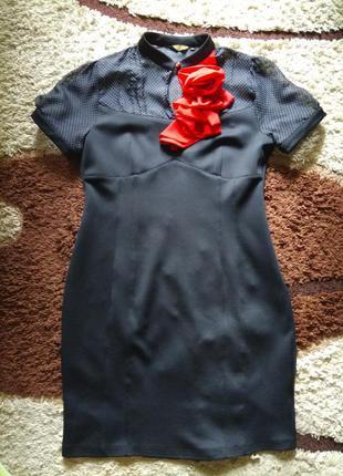 Платье с красной розой в горох размер 46-50 в идеале