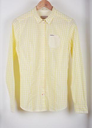 Рубашка жёлтая лимонная в клетку napapijiri
