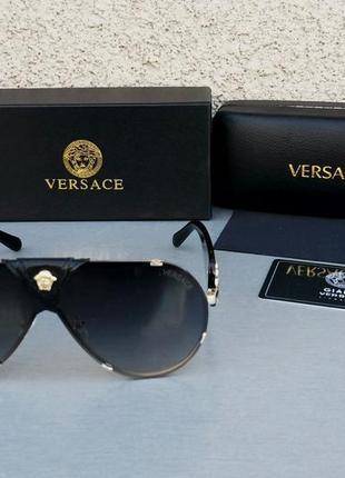 Versace очки маска женские солнцезащитные черные с золотом с градиентом