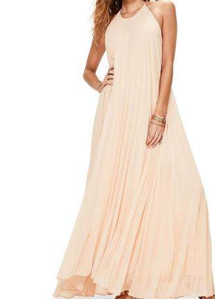 Missguided нюдова максі сукня-пліссе