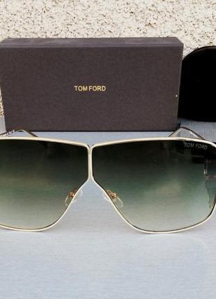 Tom ford очки маска женские солнцезащитные темно зеленые с градиентом в золоте