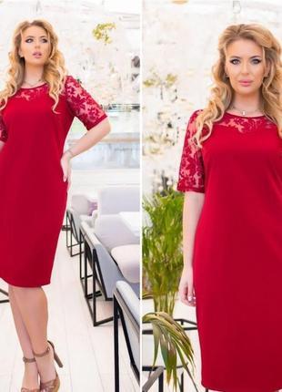 Платье прямое рукава-гипюр 52 54 56 58