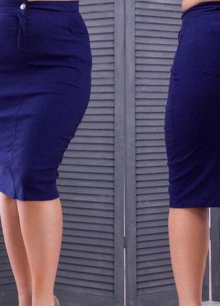 Юбка-карандаш высокая талия джинс 50,52,54,56