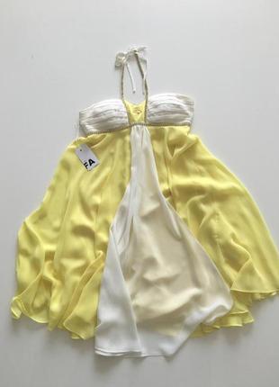Шифоновое расклешенное короткое платье с высокой талией roccobarocco