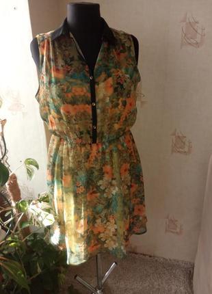 Шифоновое платье, в цветы