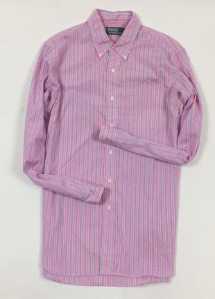 Z7 рубашка ralph lauren ральф лоурен полосатая в полоску розовая