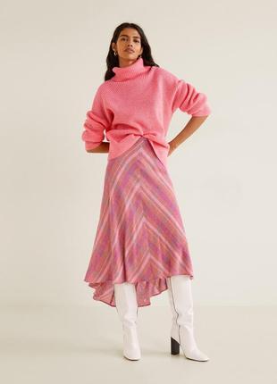 Шерстяная ассиметричная юбка миди в клетку mango, шерсть