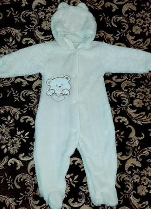 Тёплый махровый человечек, пижамка  ромпер, слип, 9-12 мес, 74-80 см