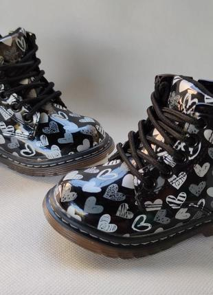 Детские демисезонные ботинки для девочек черные 22р-26р q120 лаковые