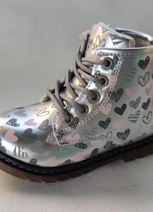 Детские демисезонные ботинки для девочек 29 р.q257-4 лаковые серебристые