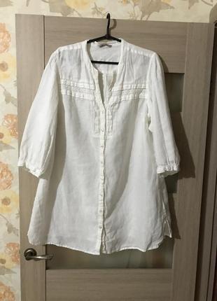 Льняная рубашка большого размера