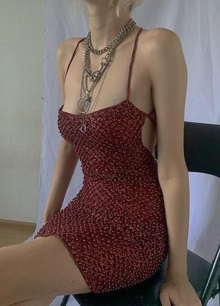 Платье марсала блестящее