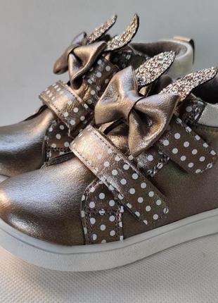 Детские ботинки кроссовки для девочки 21-26р а01-2 ушки с бантиком