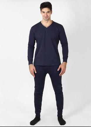 Тёплое нательное бельё мужское 100 % хлопок зимнее нательное с начесом пижама