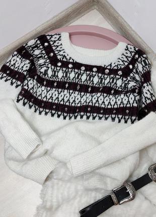 Женский белый свитер кофта с орнаментом шерстяной