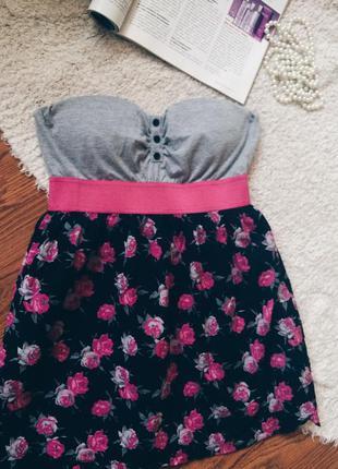Милое платье,рвите без бретелек,платье в розах,платье с розами,нежное платье