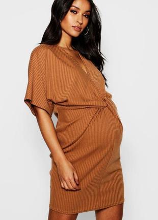 Крутое платье с узлом в рубчик большой размер платье для беременных