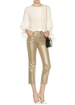 Chloe золотые  металический блестящий эффект укороченные джинсы it42 italy