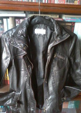 Кожанка косуха курточка черная кожзам размер 8-10