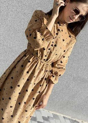 Платье вельвет в сердечко